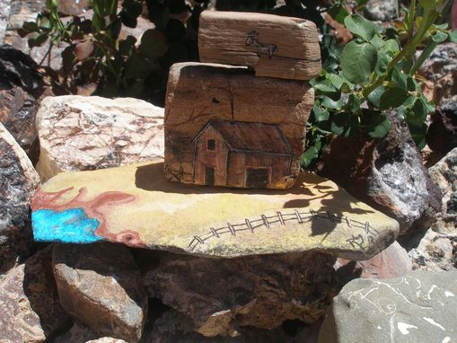 Custom Made Old Homestead Painting Hand Painted Rock Art 3d One Of A Kind