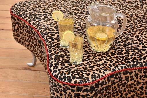 Custom Made Leopard Leather Hair-On-Hide Ottoman Coffee Table