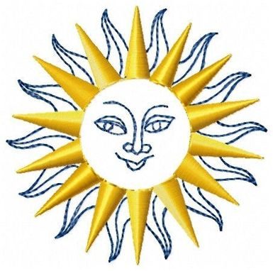 Custom Made Sun With Face Embroidery Design