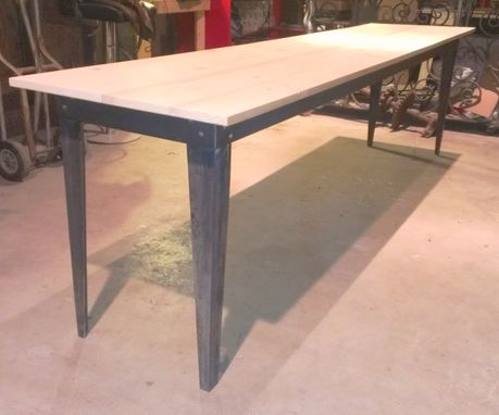 Custom Made Hand Cut Steel And Reclaimed Wood Console Table