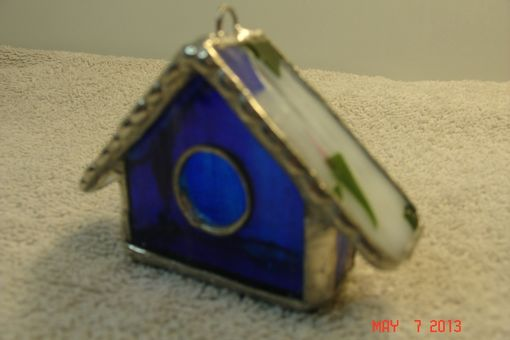 Custom Made Empty Nest Bird House Ornament In Colbalt Blue With Green / Pink Roof