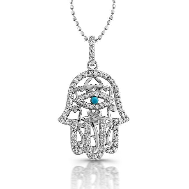 Custom diamond hamsa necklace with turquoise eye by coby madison custom made diamond hamsa necklace with turquoise eye aloadofball Choice Image