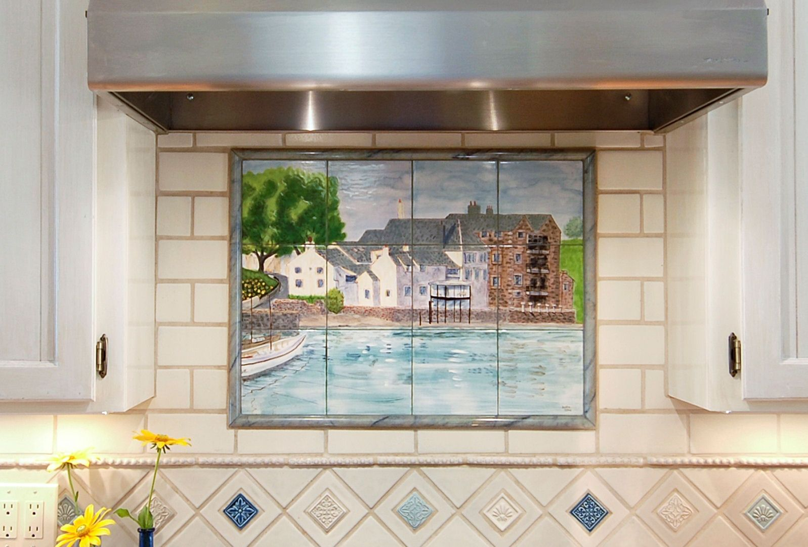 custom made kitchen mural in hand painted ceramic tile: scottish