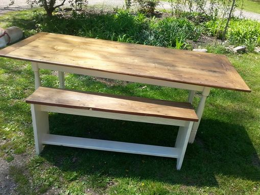 Custom Made Reclaimed Oak Farmhouse Table & Bench