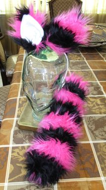 Custom Made Pink/Black Cheshire Cat Ears & Tail Set In 2 Variations