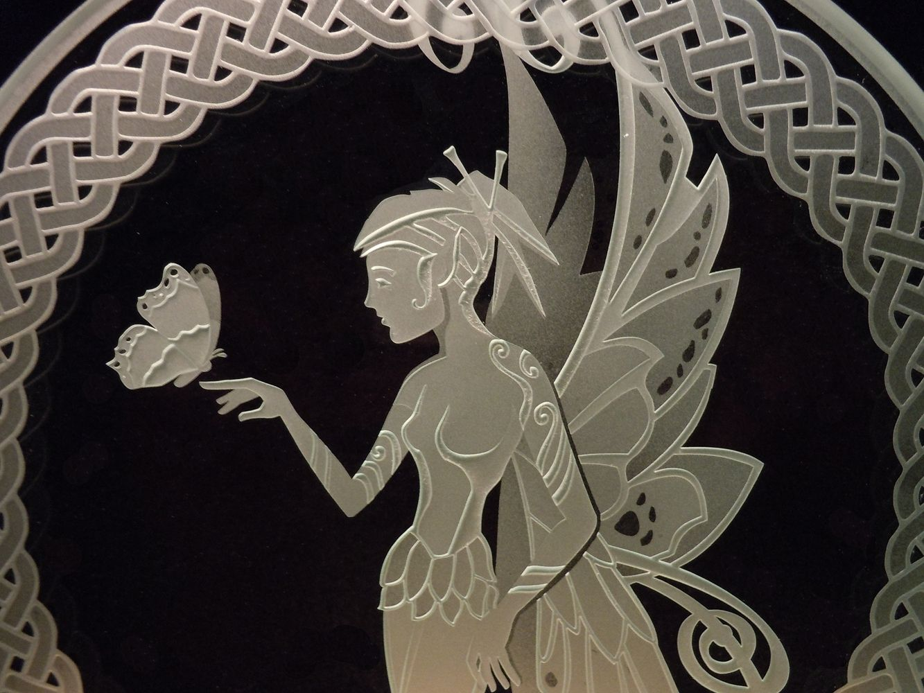 Fairy With Erfly Celtic Knotwork Etched Glass Decorative Art Tabletop Display By Brian Laughlin
