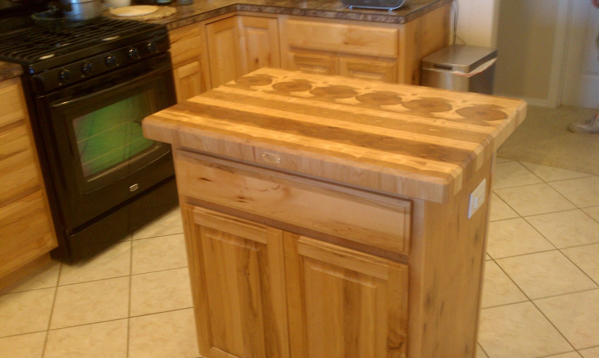 Custom Made Hickory Butcher Block Top Wine Rack For An Existing Kitchen