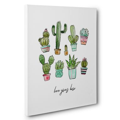 Custom Made Love Grows Here Cactus Motivational Canvas Wall Art