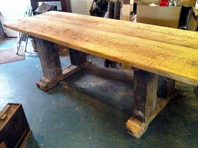 Custom Made Primetive Barn Beam Table Desk