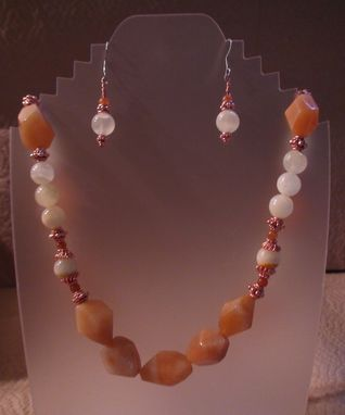 Custom Made Italian Onyx, Light Red Aventurine And Red Aventurine Necklace In Copper
