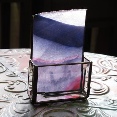 Custom Made Stained Glass Business Card Holder, 1191