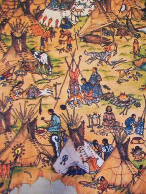 Custom Made Blanket With A Reproduction Of One Of Matt's Deer Hide Pictographs: Indian Village