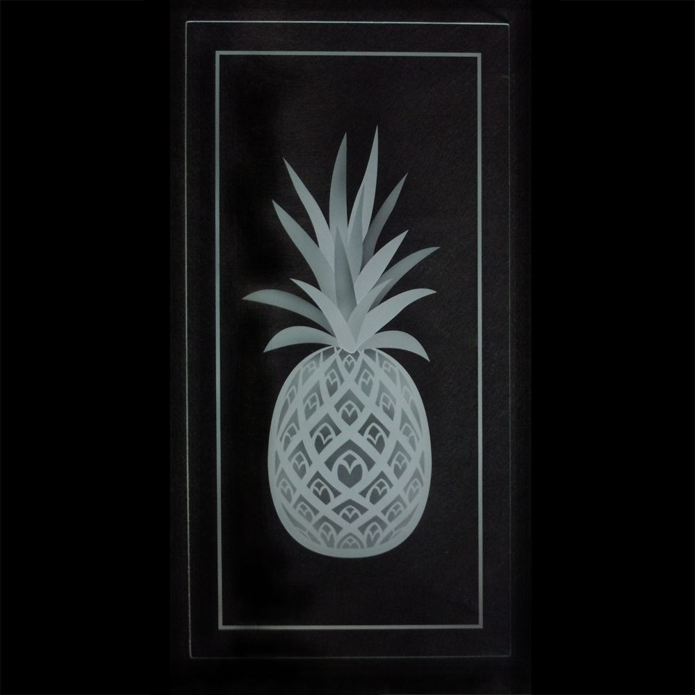 Hand Crafted Pineapple Etched Glass Kitchen Cabinet Carved