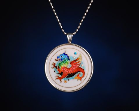 "Custom Made ""Griffin"" Pendant - Cloisonne Enamel Pendant. Mythical Creatures Series"