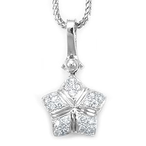 Custom Made Diamond Star Design Pendant In 14k White Gold, Star Pendant, Diamond Pendant