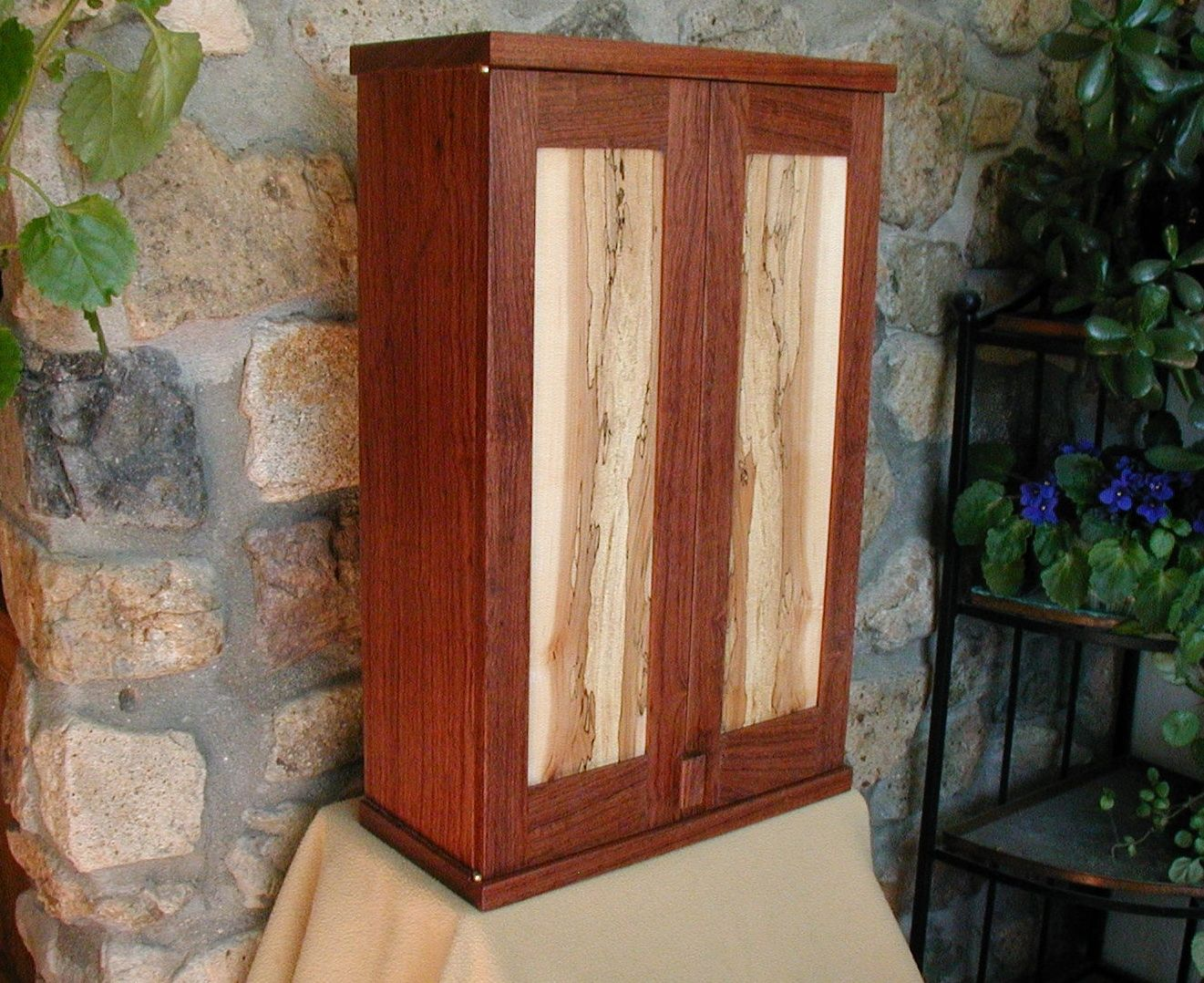 Custom Made Bubinga And Spalted Maple Wall Cabinet By John