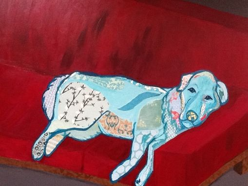 Custom Made Robins Egg Blue Dog Retriever Paper Collage Red Couch Child