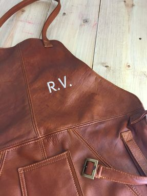 Custom Made Leather Apron In Brandy - Brown Leather Custom-Made Bbq Baristas Cafe Restaurant Name Initials