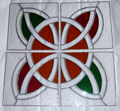 Custom Made Celtic Design Stained Glass Door Panels