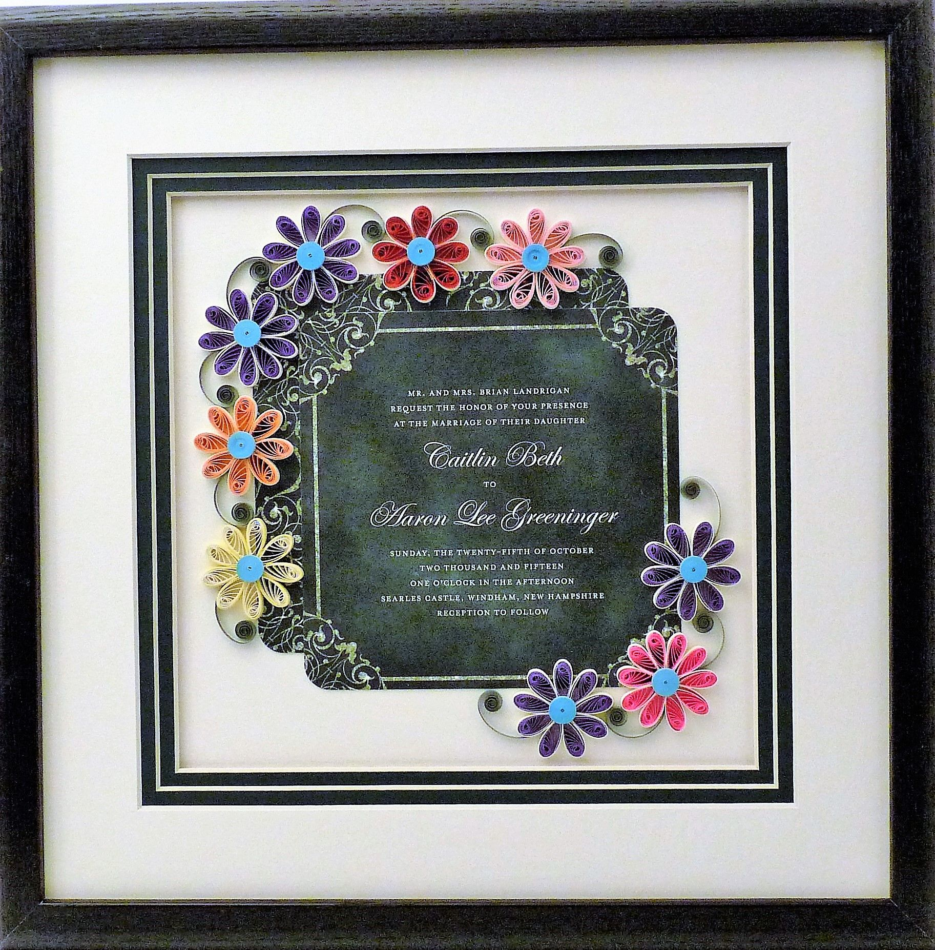 Hand Crafted Wedding Invitation Quilled Keepsake Framed Wall Art