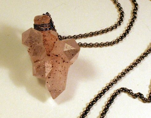 Custom Made Pyrite Rose Quartz Cluster Necklace On Antique Genuine Silver Segment Chain