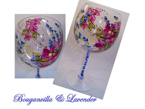 Custom Made Bougainvillea Designed Wine Goblets
