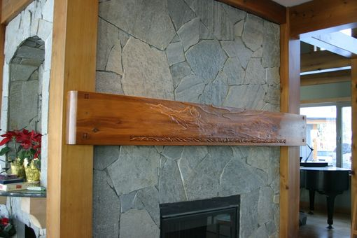 "Custom Made Hand Carved Mantel  ""Mountain View"""