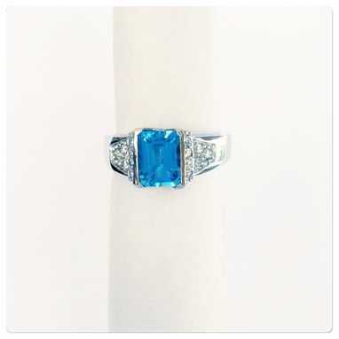 Custom Made Shop Online 14k Womens White Gold Diamond With Emerald Cut Blue Topaz Ring 2.30ct