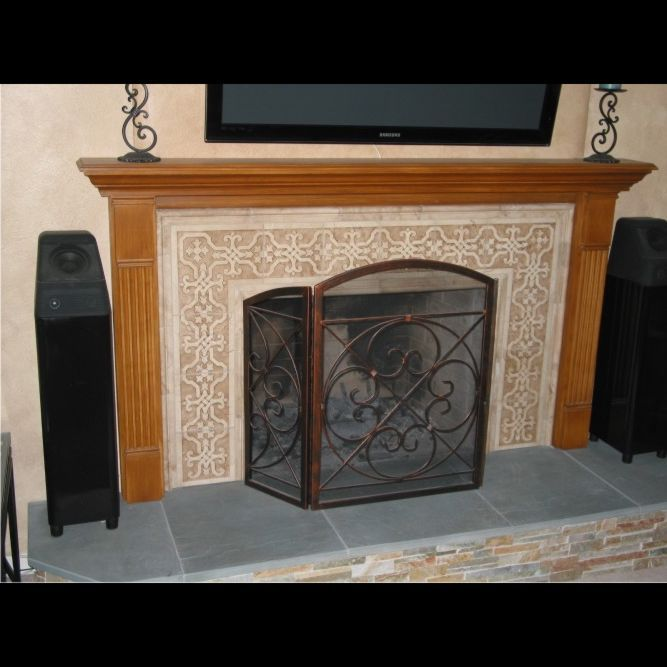 Tree Of Life Fireplace Surround: Custom Made Carved Marble Tile Fireplace Surround By