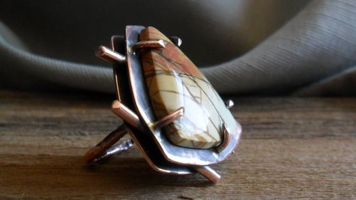 Custom Made Geometric Copper Ring With Cherry Blossom Jasper Ring