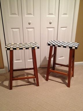"Custom Made Hand Painted 24"" Saddle Seat Bar Stools"