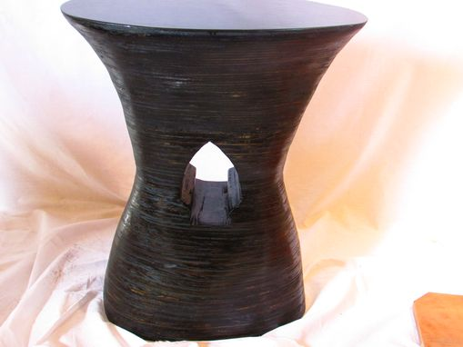 Custom Made Lovely Carved Wood End Table Stack Laminated Ebony Ebonized Polished