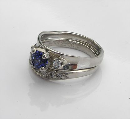 Custom Made Platinum Wedding Ring Set With Sapphire & Diamond