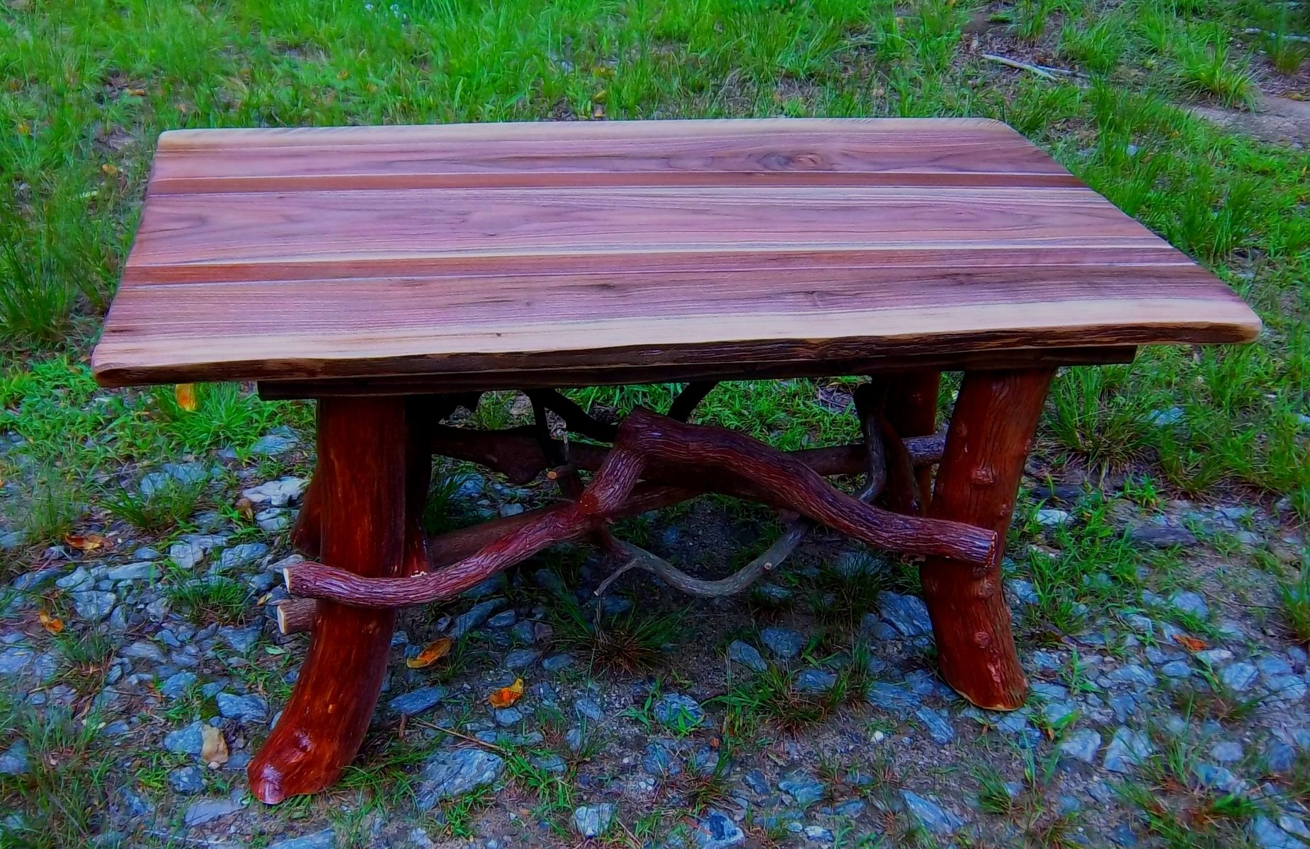 Rustic coffee tables unique and handmade from the log - Hand Crafted Rustic Coffee Table With Mountain Laurel Base Log Cabin Furniture By Blue Ridge Rustics Custommade Com