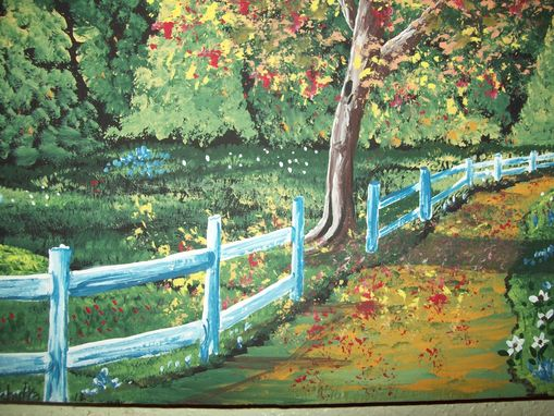 Custom Made Original Painting On Masonite Titled: Country Road In Autumn With Open Gate