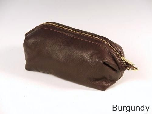 Custom Made Burgundy Leather Shave Bag