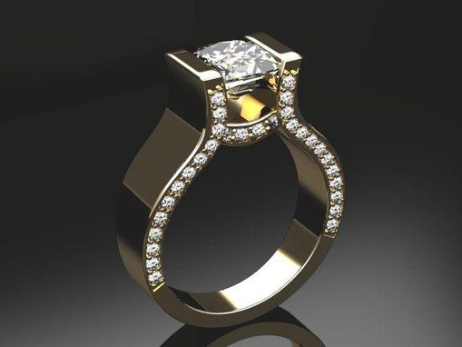 Custom Made Cathedral Diamond Top And Accenting Diamond Engagement Ring