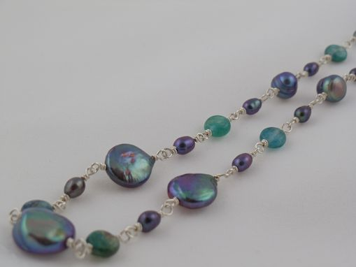 Custom Made Green Kyanite & Freshwater Pearl Hand Wrapped Necklace
