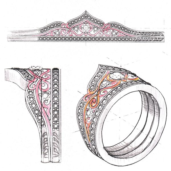 Sketches for a bold, intricate tiara engagement ring in mixed white and rose gold.