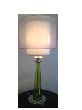Custom Made Matching Blown Glass Table Lamps With Double Drum Shades