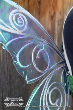 Custom Made Tinkerbell Pixie Print Dress With Light Up Fairy Wings Costume