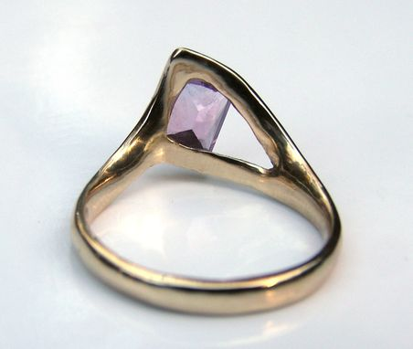 Custom Made Unique Handmade Custom 14k Gold Ring With Purple Sapphire