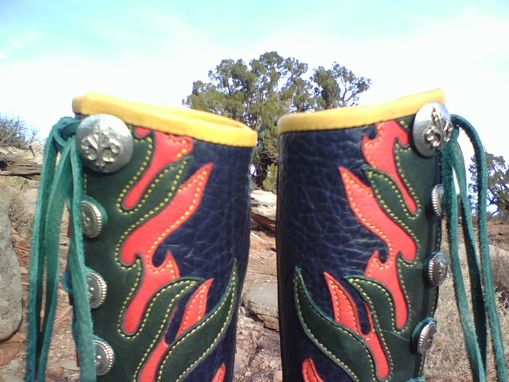 Custom Made Red & Green Flames On Steel Blue Bull Hide Leather Boots