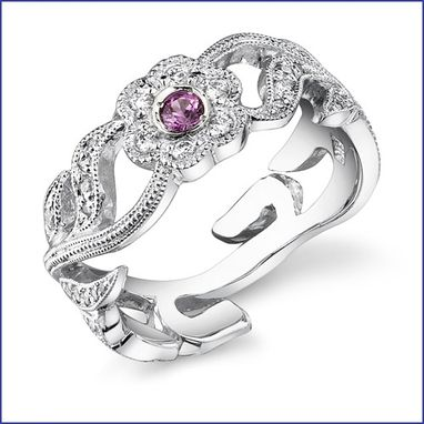 Custom Made 18 Kt Ladies Diamond Ring With Pink Sapphire Stones