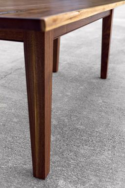 Custom Walnut Live Edge Dining Table With Tapered Legs By