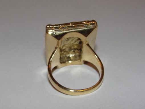 Custom Made Brass Plated With 14 Kt Gold Vermeil Rectangular Georgian Inspired Cameo Ring