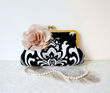 Custom Made Victorian-Inspired Clutch Purse In Black And White With Handmade Satin Flower