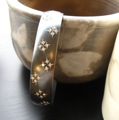 Custom Made Oxidized Sterling Silver Sparks Cuff Bracelet With Cubic Zirconia