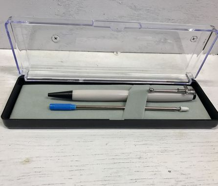 "Custom Made Custom Slimline Twist Pen With Gray ""Pearl"" ""Solid Surface' Acrylic Body And Black Enamel Trim"