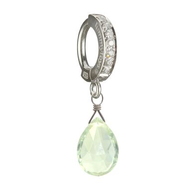 Custom Made Green Amethyst On Tummytoys Cz Pave Belly Ring